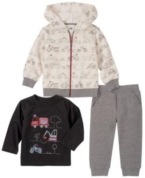 Kids Headquarters Baby Boys All Over Trucks Zip Front Hoodie Fleece Pant Set