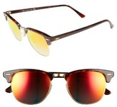 Ray-Ban Men's 'Clubmaster' 51Mm Sunglasses - Shiny Red Havana/ Red Mirror