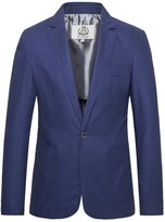 E-artist Men's Slim Fit Casual Linen Blazer Jacket X15 Blue XX-Large