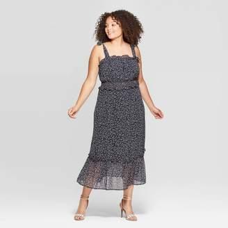 Who What Wear Women's Plus Size Sleeveless Square Neck Shoulder Tie Column Midi Dress