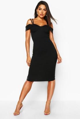 boohoo Strappy Cold Shoulder Midi Dress