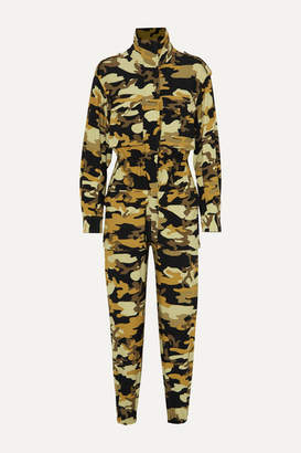 Norma Kamali Turtle Camouflage-print Stretch-jersey Jumpsuit - Army green