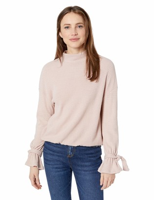 William Rast Women's Elle Mock Neck Top with Tie Sleeve