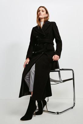 Karen Millen Wool Rich Buckle Belted Double Breasted Coat