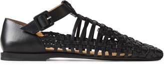 Jil Sander Cutout Braided And Smooth-leather Sandals