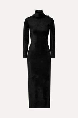 Balenciaga Stretch-velvet Turtleneck Maxi Dress - Black
