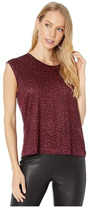 Current/Elliott The Jax Muscle Tee with Half Moon (Burgundy Leopard) Women's Clothing