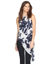 White House Black Market Floral Asymmetric Layered Tunic
