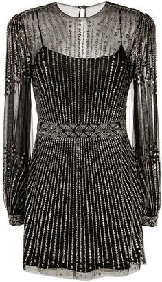 Alberta Ferretti Semi-Sheer Crystal Embellished Dress