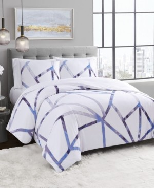 Vince Camuto Home Vince Camuto Obelis Metallic 3 Piece Duvet Set, Full/Queen Bedding