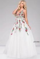 Jovani Embroidered V-Neck Prom Dress 48891
