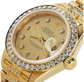 Rolex Presidential Datejust 18K Yellow Gold Champagne Dial Diamond Women's Watch