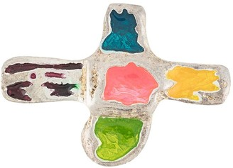 Christian Lacroix Pre Owned Coloured Cross Brooch