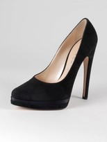 Suede and Satin Platform Pump