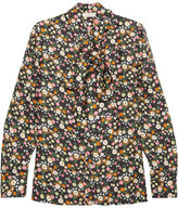 Tory Burch Azra Pussy-bow Floral-print Silk-twill Blouse - Black