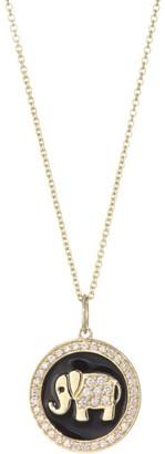 Sydney Evan Pave Diamond & 14K Yellow Gold Enamel Elephant Pendant Necklace