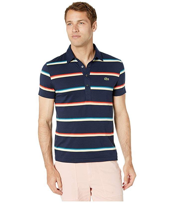Fit Sleeve Cotton Striped Light Regular Short Polo Jersey Pima 4AcR5q3jL