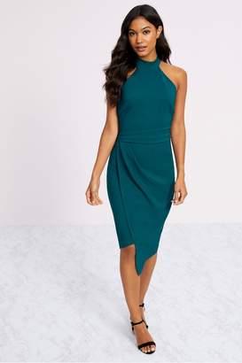Lipsy Halter Neck Asymmetric Bodycon Dress - 12 - Blue