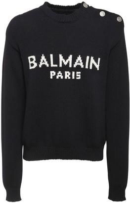 Balmain Oversize Logo Intarsia Wool Knit Sweater