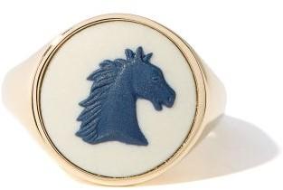 Ferian - Horse Wedgwood Cameo & 9kt Gold Signet Ring - Blue White
