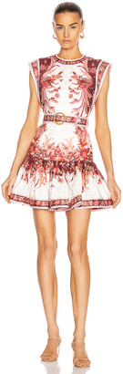 Zimmermann Wavelength Fluted Mini Dress in Red Phoenix | FWRD