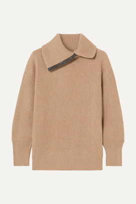 Brunello Cucinelli Bead-embellished Ribbed Cashmere Turtleneck Sweater - Camel