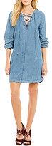 Blu Pepper Long-Sleeve Chambray Lace-Up Shift Dress