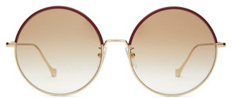 Loewe Round Frame Leather Trimmed Metal Sunglasses - Womens - Gold