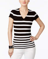 INC International Concepts Striped V-Neck Top, Created for Macy's