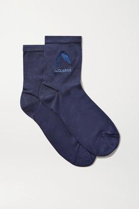 Maria La Rosa Aquarius Embroidered Silk-blend Socks - Navy