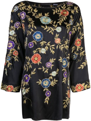 Josie Natori Couture Embroidered Satin Tunic