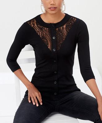 Milan Kiss Women's Blouses BLACK - Black Floral Lace Contrast Button-Up Top - Women