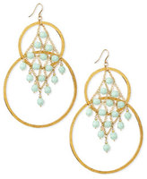 Devon Leigh Amazonite Hammered Double-Hoop Earrings, Aqua