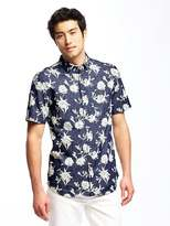 Old Navy Slim-Fit Floral Chambray Shirt For Men
