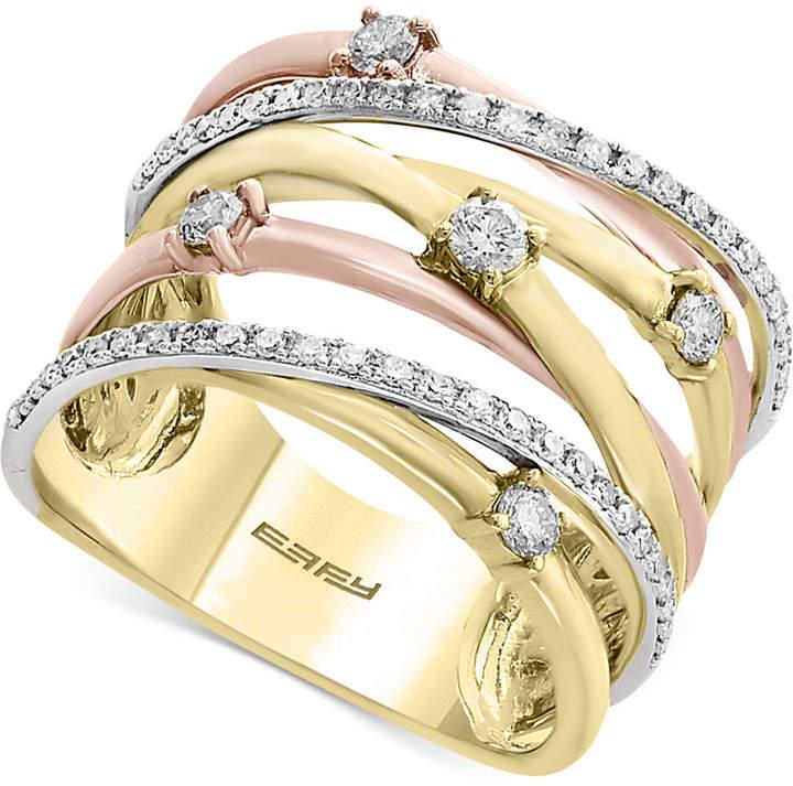 Effy Trio by Diamond Crisscross Ring (1/2 ct. t.w.) in 14k Gold, White Gold & Rose Gold