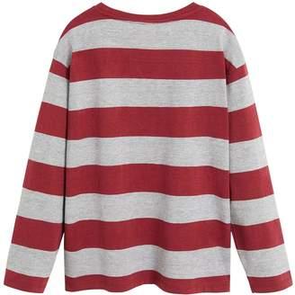 MANGO Boys Long Sleeve Stripe T-shirt - Dark Red