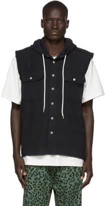 Vyner Articles Black Hooded Sleeveless Shirt
