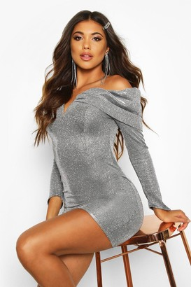boohoo Glitter Metallic Bardot Bodycon Dress