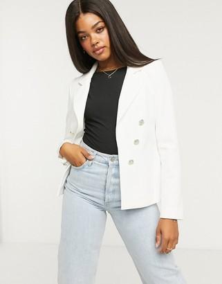 Lipsy military blazer jacket in white
