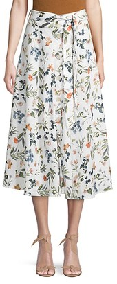 Saks Fifth Avenue Botanical-Print Linen Knee-Length Skirt