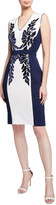 Tadashi Shoji Colorblock V-Neck Sleeveless Neoprene Dress w/ Sequin Detail