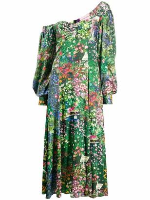 Natasha Zinko Off the Shoulder Floral Slit Dress