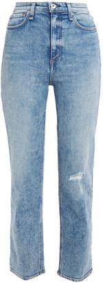 Rag & Bone Cropped Distressed Faded High-rise Slim-leg Jeans