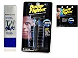 Barc Bump Down Razor Bump Relief, Alcohol-Free, Unscented Lotion, 1.7 Oz + Bump Fighter Razor for Men + Bump Fighter Cartridge Refill, 5 Ct + FREE Curad Dazzle Bandages 25 Ct