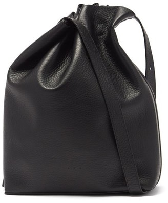 Aesther Ekme Marin Drawstring Grained-leather Shoulder Bag - Black