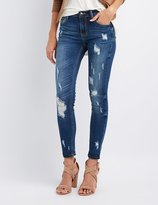 Charlotte Russe Cello Distressed Mid-Rise Skinny Jeans