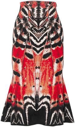Alexander McQueen Fluted Jacquard-knit Midi Skirt