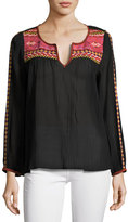 Joie Cosima Embroidered Peasant Top, Black
