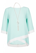 Quiz Aqua And White Contrast 3/4 Sleeve Necklace Top