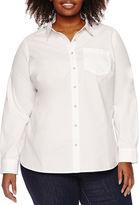 A.N.A a.n.a Long Sleeve Stripe Button-Front Shirt-Plus